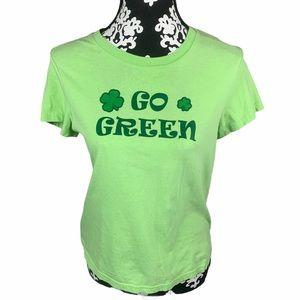 🍀Y2K St. Patricks Day Green Graphic Tee Semi-Crop